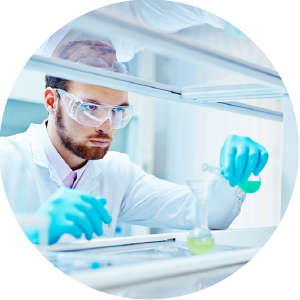 scientist mixing chemicals for product research