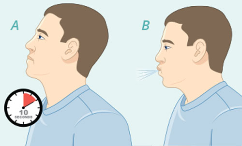 Hold your breath for up to 10 seconds, then breathe normally