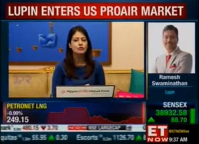 Ramesh Swaminathan, CFO Lupin, with ET Now First Trades 26 Aug 2020 USFDA Nod For Alb