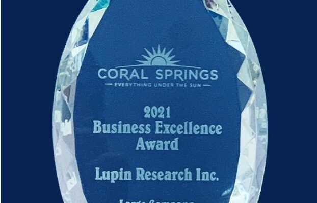 Business Excellence Award – Lupin Research Inc. Coral Springs